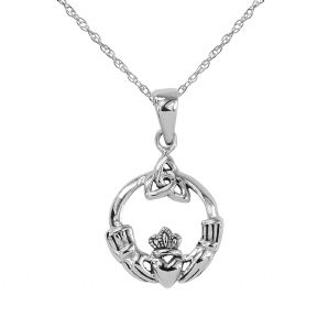 Celtic Claddagh Silver Round Pendant 9242